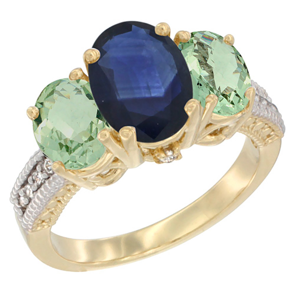 10K Yellow Gold Natural Blue Sapphire Ring Ladies 3-Stone Oval 8x6mm with Green Amethyst Sides Diamond Accent, sizes 5 - 10