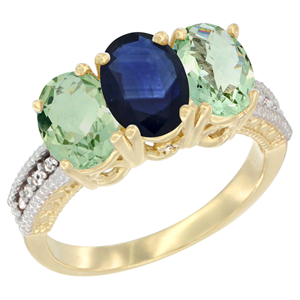 10K Yellow Gold Diamond Natural Blue Sapphire & Green Amethyst Sides Ring 3-Stone Oval 7x5 mm, sizes 5 - 10