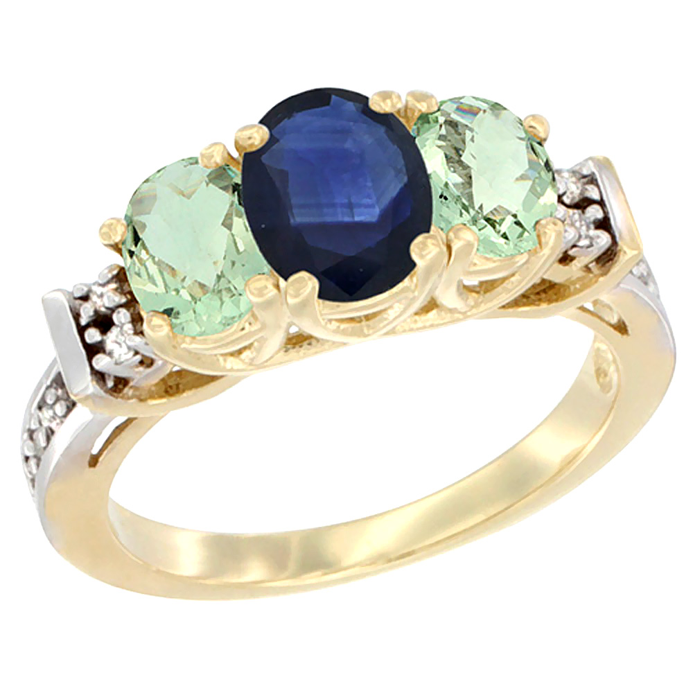 10K Yellow Gold Natural Blue Sapphire & Green Amethyst Ring 3-Stone Oval Diamond Accent