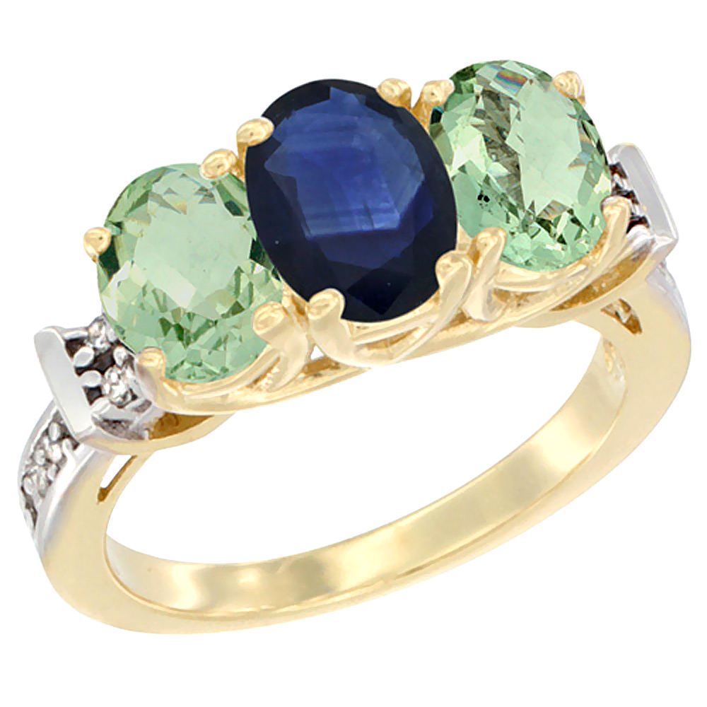 10K Yellow Gold Natural Blue Sapphire & Green Amethyst Sides Ring 3-Stone Oval Diamond Accent, sizes 5 - 10