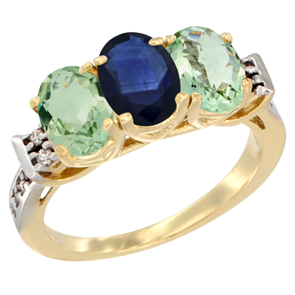14K Yellow Gold Natural Blue Sapphire & Green Amethyst Sides Ring 3-Stone 7x5 mm Oval Diamond Accent, sizes 5 - 10