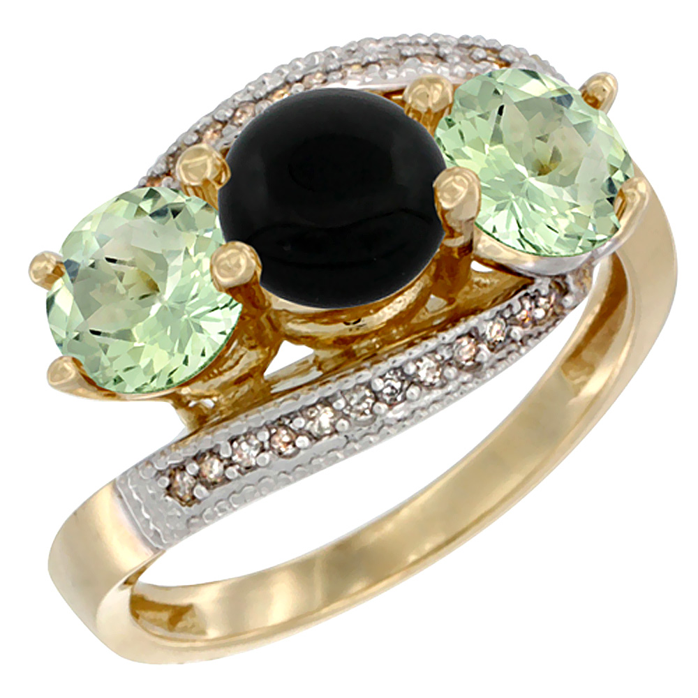 14K Yellow Gold Natural Black Onyx & Green Amethyst Sides 3 stone Ring Round 6mm Diamond Accent, sizes 5 - 10