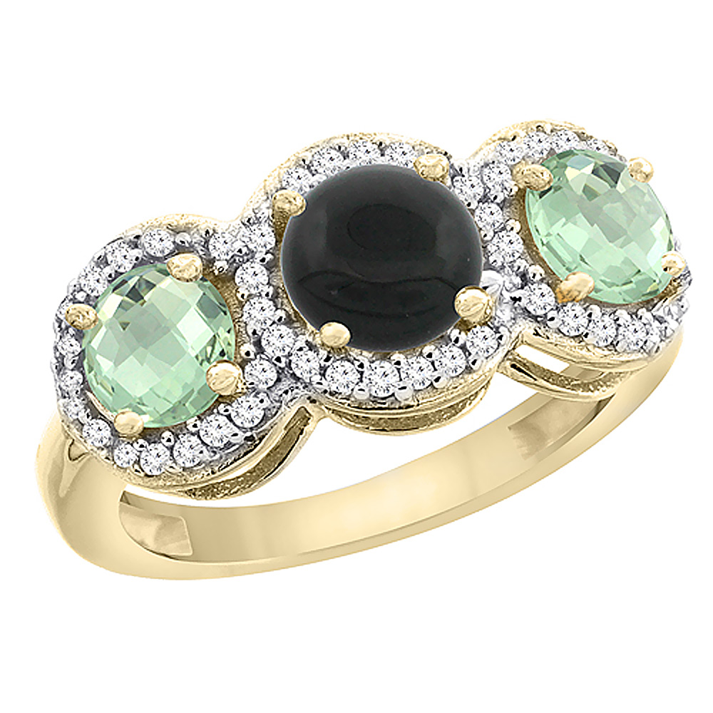 10K Yellow Gold Natural Black Onyx & Green Amethyst Sides Round 3-stone Ring Diamond Accents, sizes 5 - 10