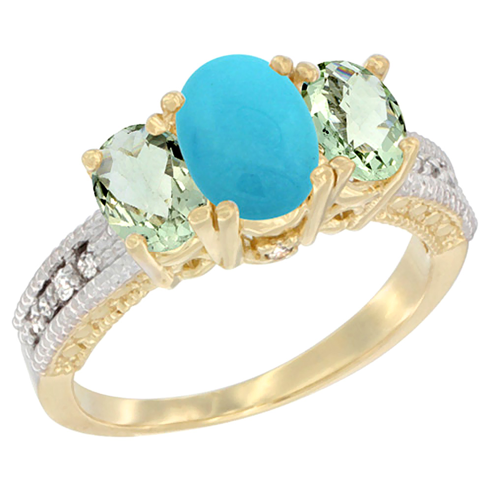 10K Yellow Gold Ladies Oval Natural Turquoise Ring 3-stone with Green Amethyst Sides Diamond Accent