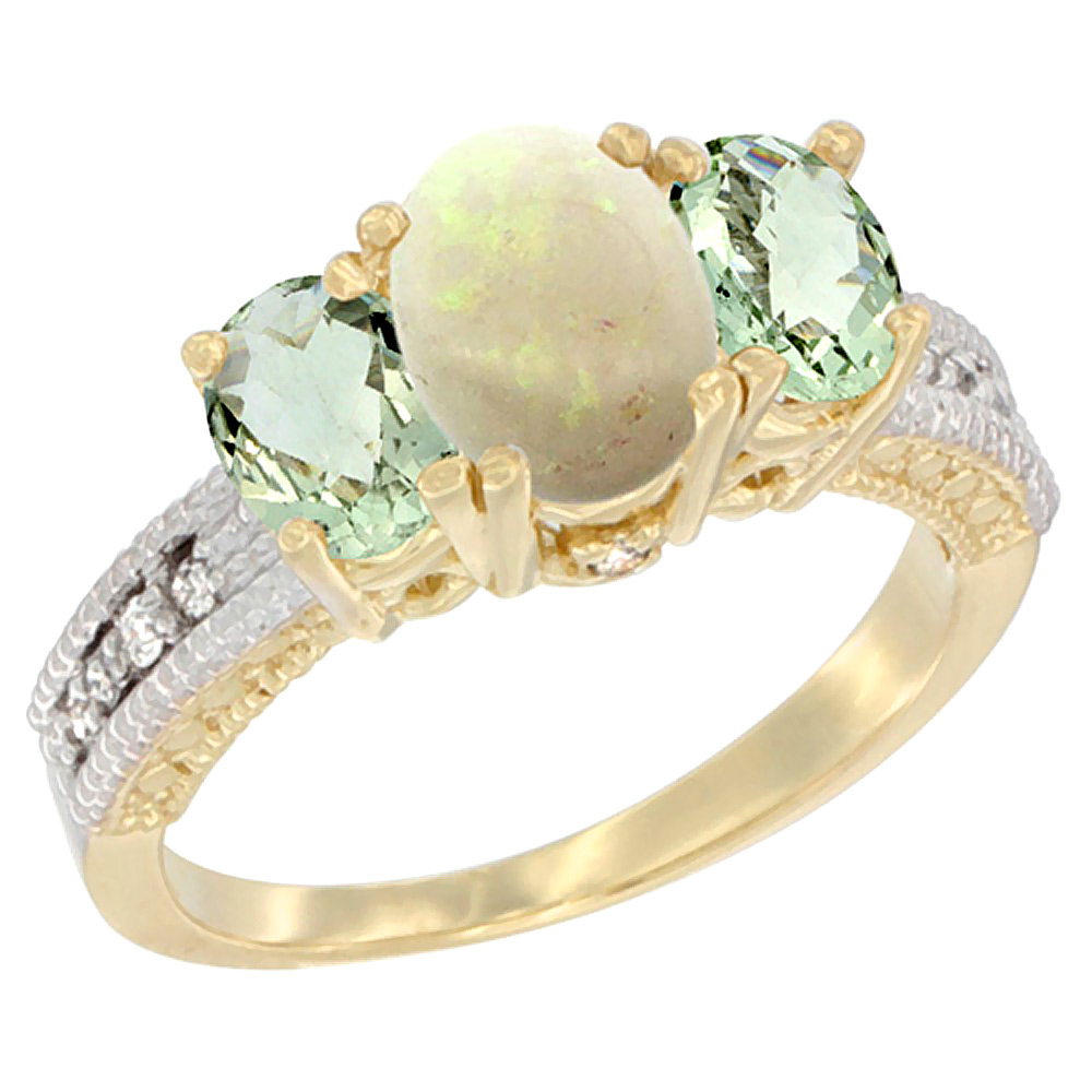 10K Yellow Gold Ladies Oval Natural Opal Ring 3-stone with Green Amethyst Sides Diamond Accent