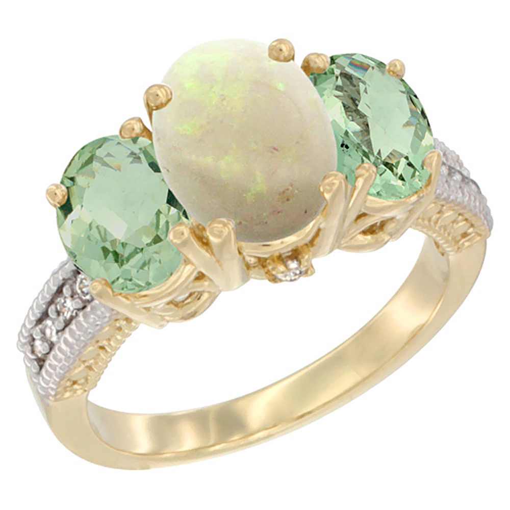 10K Yellow Gold Natural Opal Ring Ladies 3-Stone Oval 8x6mm with Green Amethyst Sides Diamond Accent, sizes 5 - 10