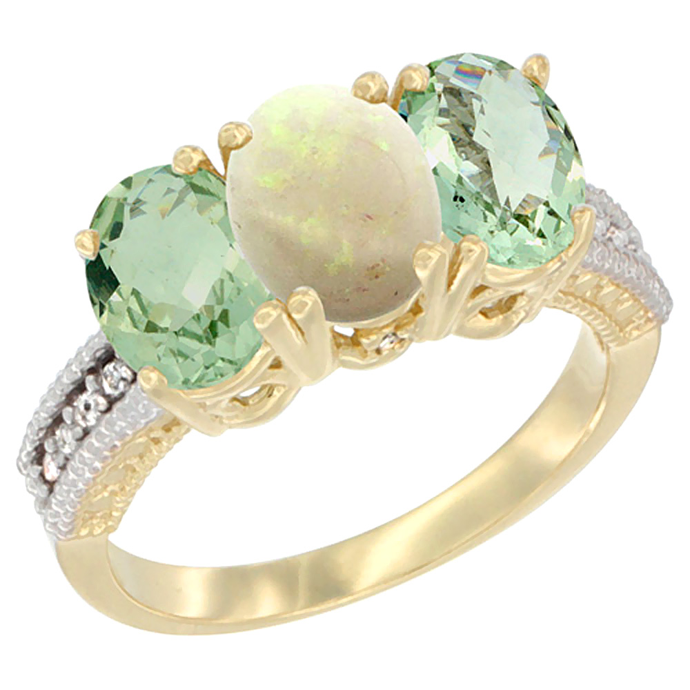 14K Yellow Gold Natural Opal & Green Amethyst Sides Ring 3-Stone 7x5 mm Oval Diamond Accent, sizes 5 - 10