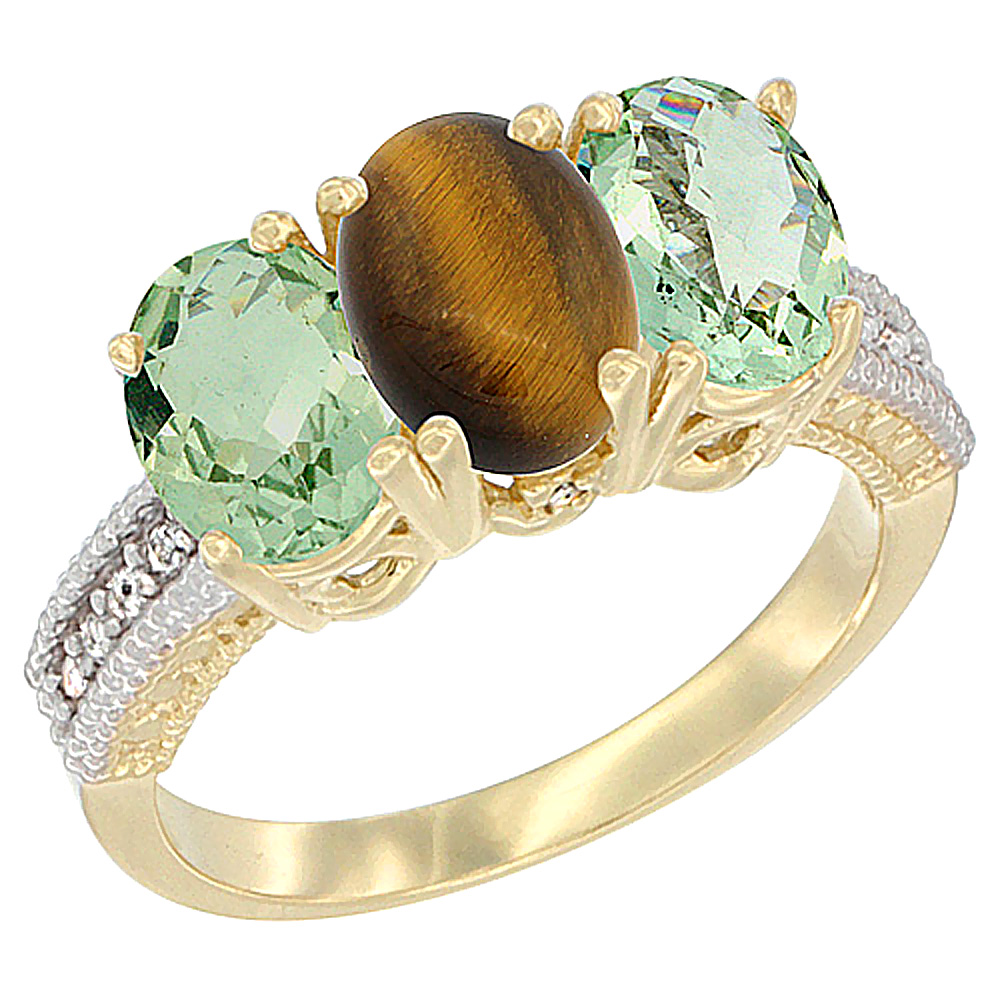 10K Yellow Gold Diamond Natural Tiger Eye & Green Amethyst Sides Ring 3-Stone Oval 7x5 mm, sizes 5 - 10