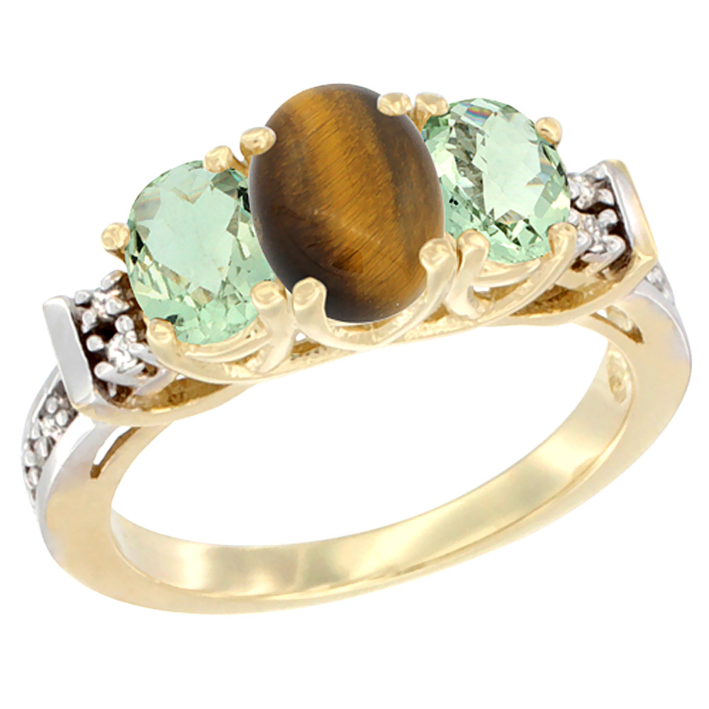 14K Yellow Gold Natural Tiger Eye & Green Amethyst Ring 3-Stone Oval Diamond Accent