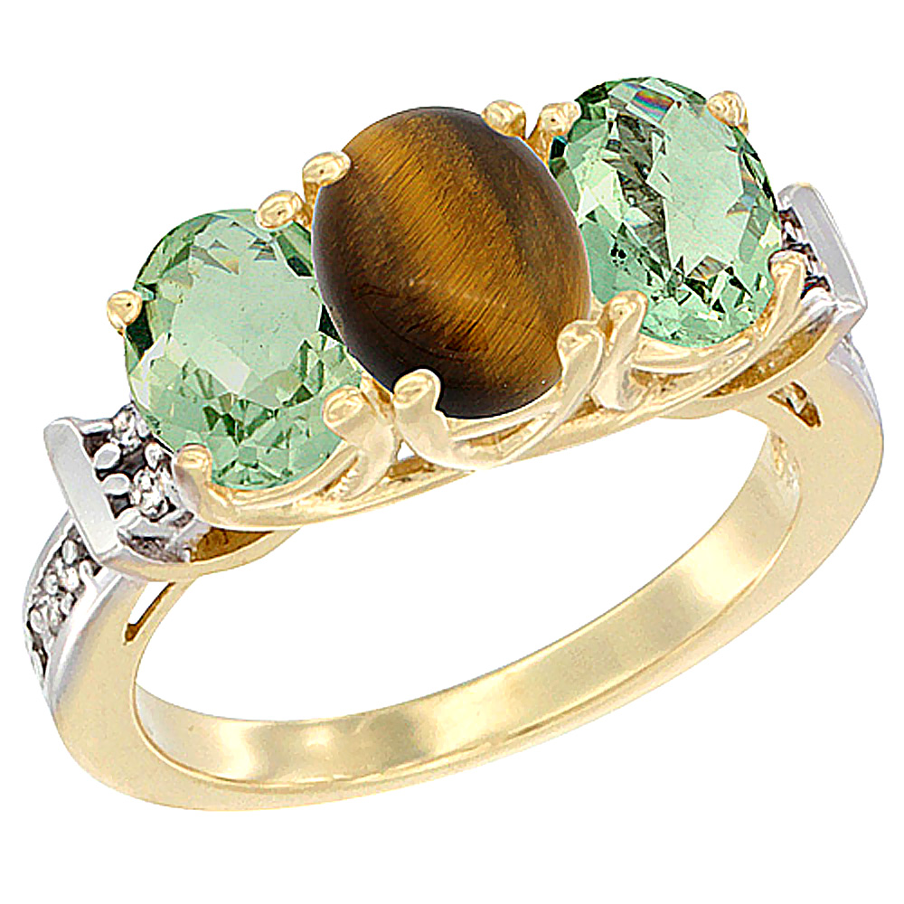 10K Yellow Gold Natural Tiger Eye & Green Amethyst Sides Ring 3-Stone Oval Diamond Accent, sizes 5 - 10