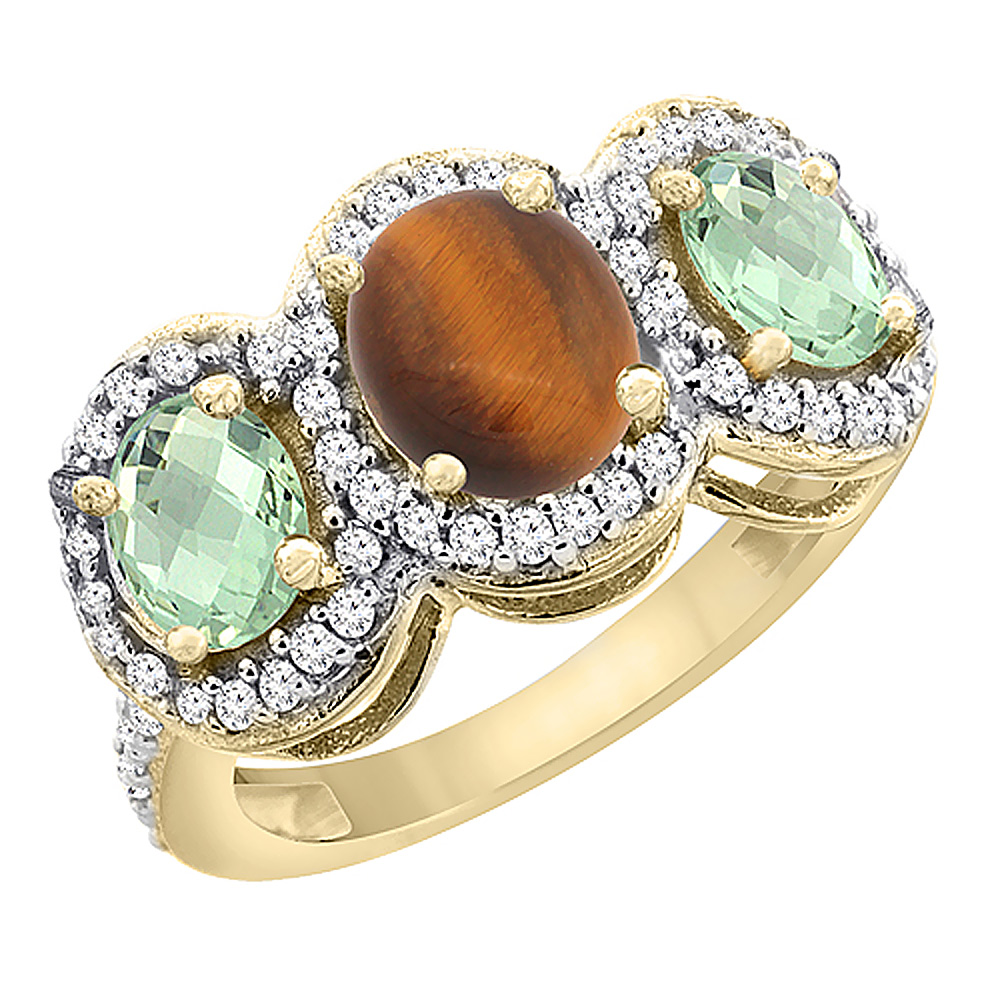 10K Yellow Gold Natural Tiger Eye & Green Amethyst 3-Stone Ring Oval Diamond Accent, sizes 5 - 10