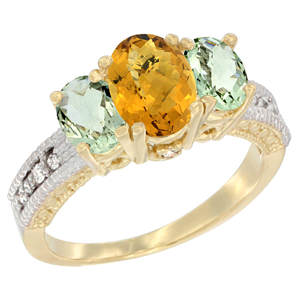 10K Yellow Gold Ladies Oval Natural Whisky Quartz Ring 3-stone with Green Amethyst Sides Diamond Accent