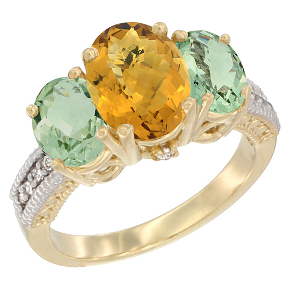 10K Yellow Gold Natural Whisky Quartz Ring Ladies 3-Stone Oval 8x6mm with Green Amethyst Sides Diamond Accent, sizes 5 - 10