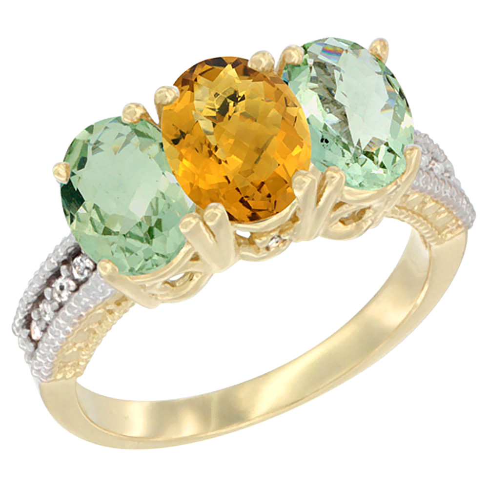 10K Yellow Gold Diamond Natural Whisky Quartz & Green Amethyst Sides Ring 3-Stone Oval 7x5 mm, sizes 5 - 10