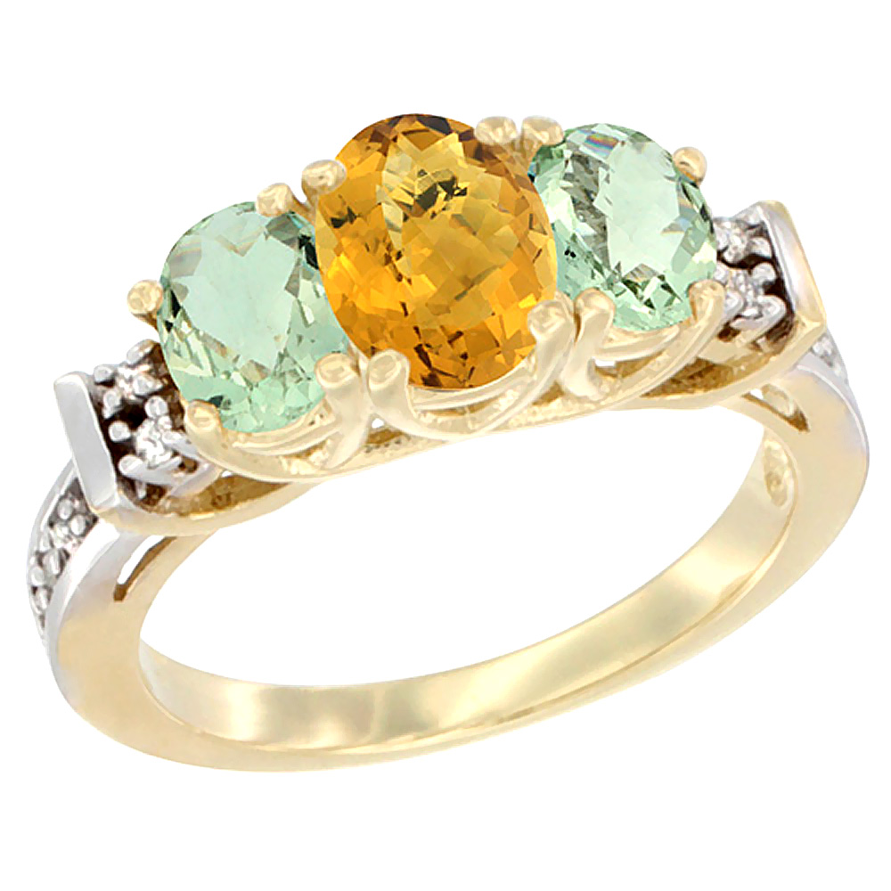 14K Yellow Gold Natural Whisky Quartz & Green Amethyst Ring 3-Stone Oval Diamond Accent