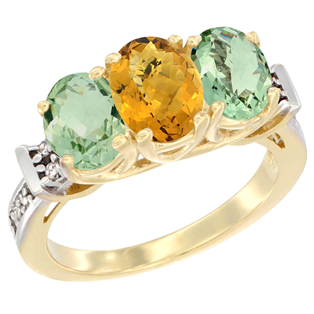 10K Yellow Gold Natural Whisky Quartz & Green Amethyst Sides Ring 3-Stone Oval Diamond Accent, sizes 5 - 10