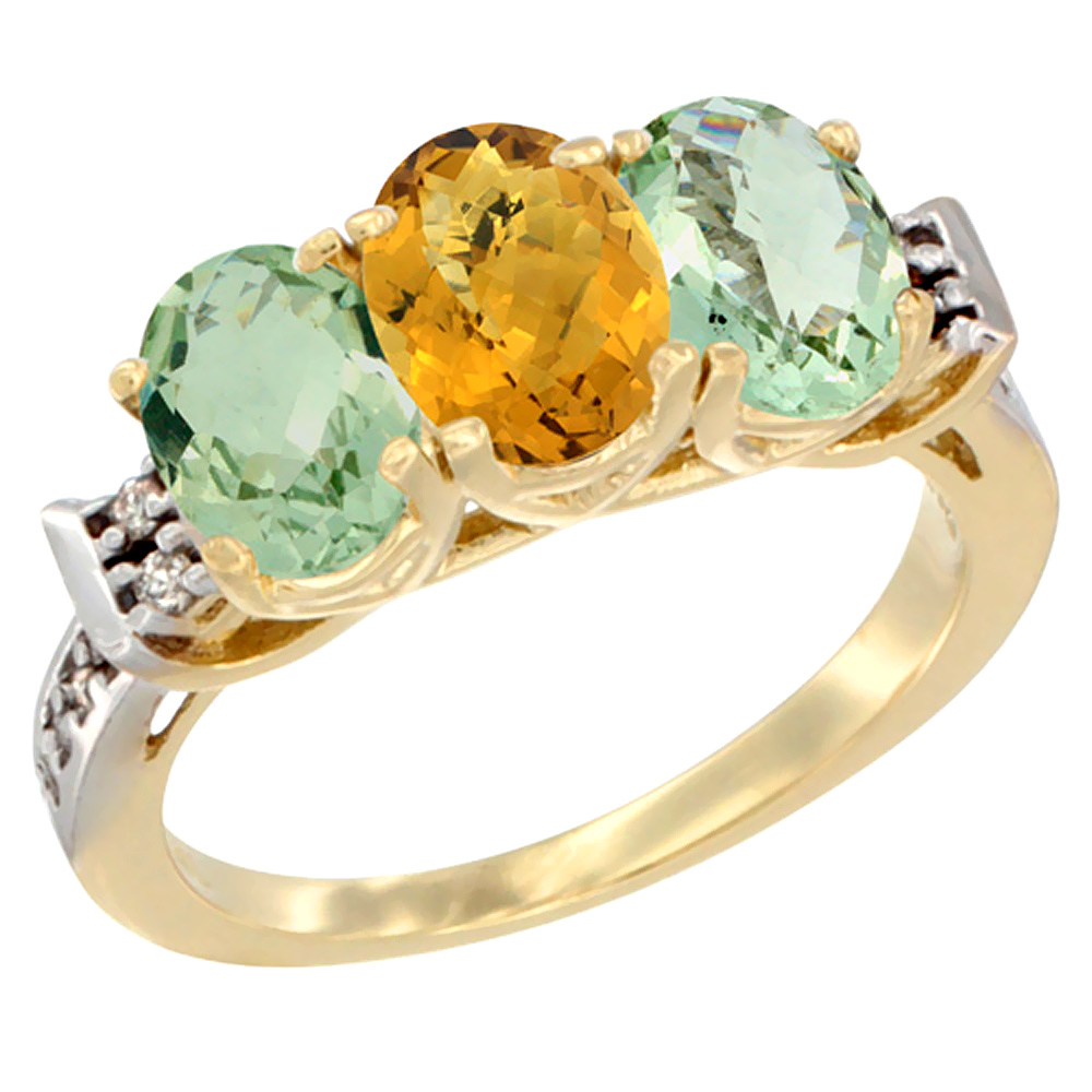 14K Yellow Gold Natural Whisky Quartz & Green Amethyst Sides Ring 3-Stone 7x5 mm Oval Diamond Accent, sizes 5 - 10