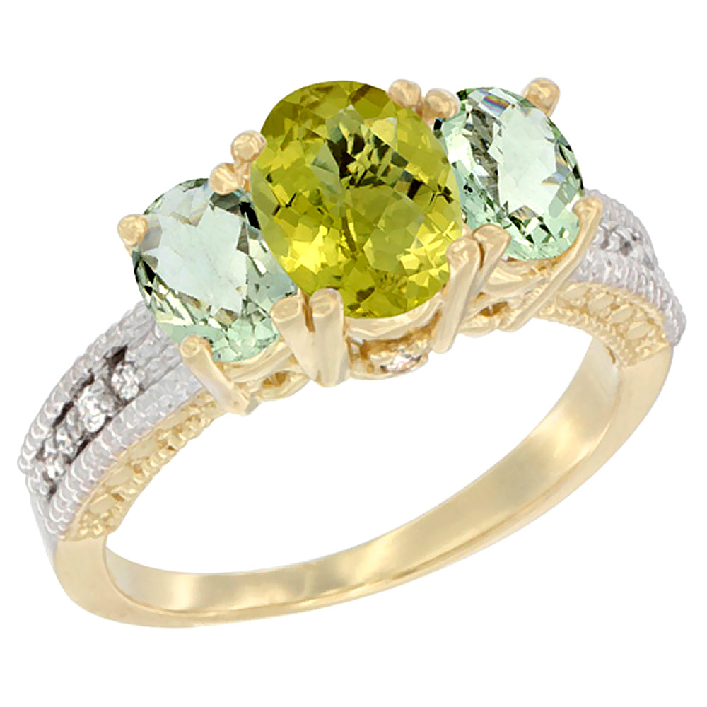 10K Yellow Gold Ladies Oval Natural Lemon Quartz Ring 3-stone with Green Amethyst Sides Diamond Accent