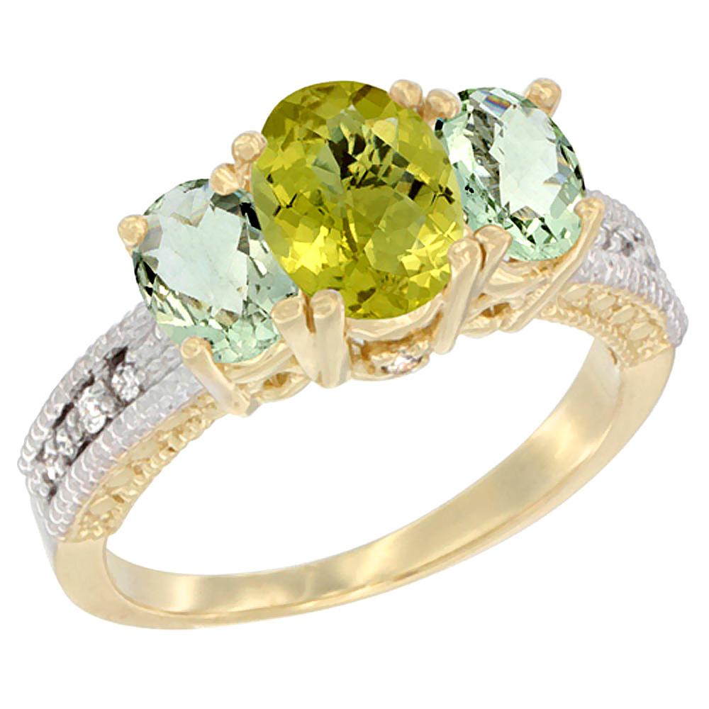 10K Yellow Gold Diamond Natural Lemon Quartz Ring Oval 3-stone with Green Amethyst, sizes 5 - 10