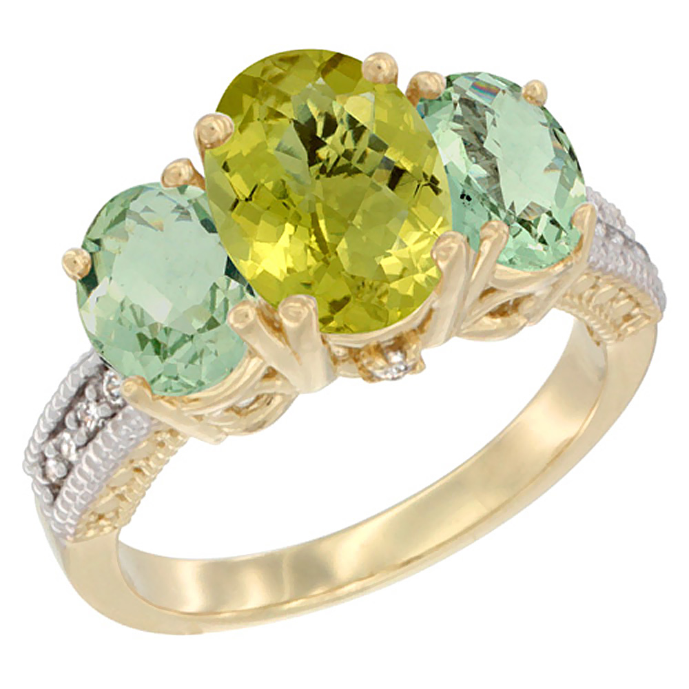14K Yellow Gold Natural Lemon Quartz Ring Ladies 3-Stone Oval 8x6mm with Green Amethyst Sides Diamond Accent, sizes 5 - 10