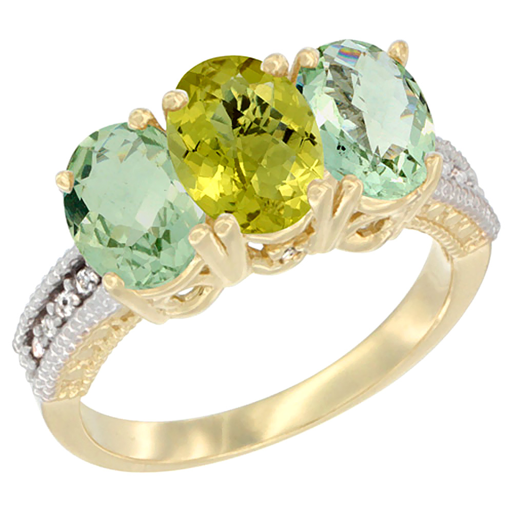 14K Yellow Gold Natural Lemon Quartz & Green Amethyst Sides Ring 3-Stone 7x5 mm Oval Diamond Accent, sizes 5 - 10