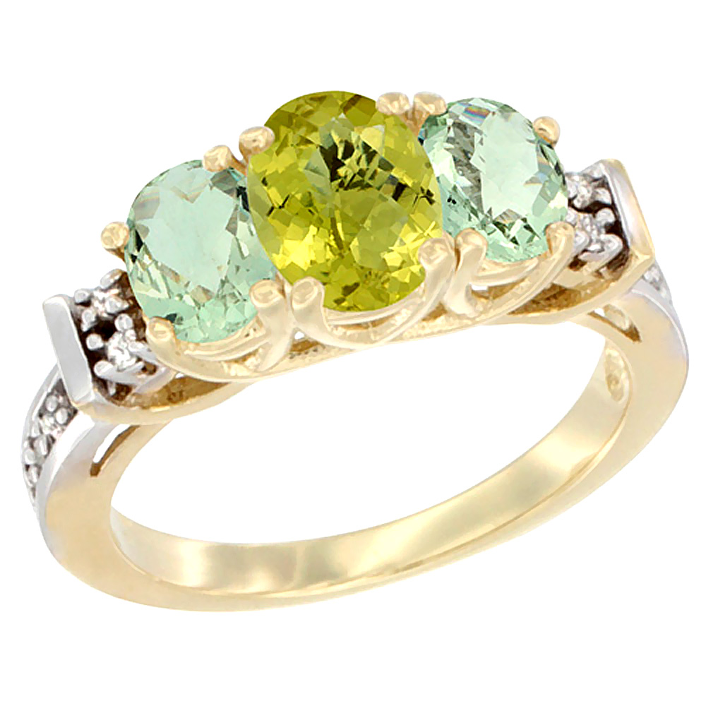 10K Yellow Gold Natural Lemon Quartz & Green Amethyst Ring 3-Stone Oval Diamond Accent