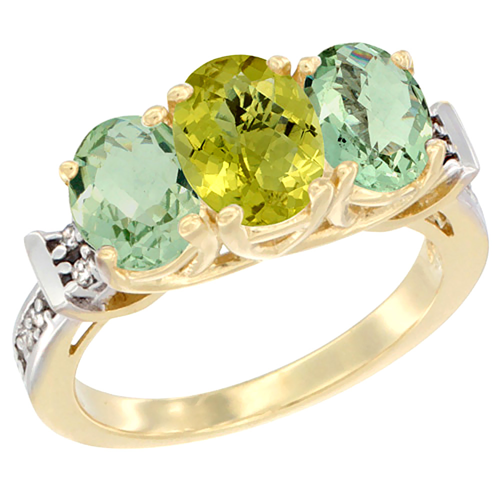 14K Yellow Gold Natural Lemon Quartz & Green Amethyst Sides Ring 3-Stone Oval Diamond Accent, sizes 5 - 10