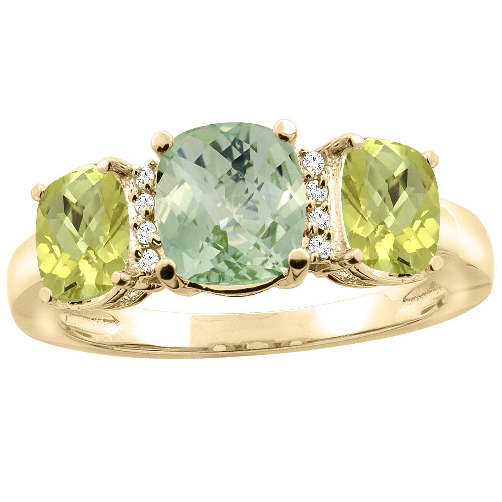 14K Yellow Gold Natural Green Amethyst & Lemon Quartz 3-stone Ring Cushion 8x6mm Diamond Accent, sizes 5 - 10