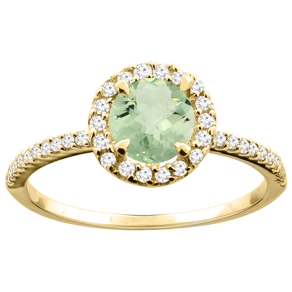 14K Gold Natural Green Amethyst Ring Round 6mm Diamond Accents, sizes 5 - 10