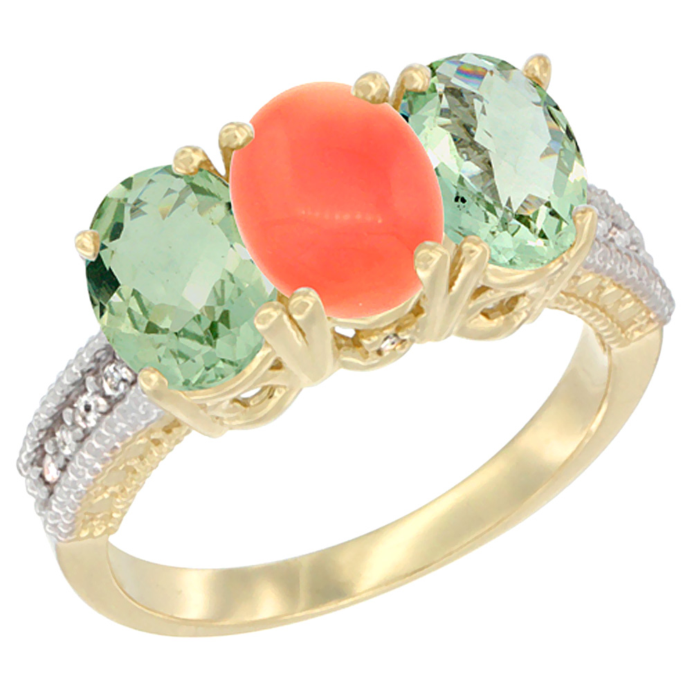 14K Yellow Gold Natural Coral & Green Amethyst Sides Ring 3-Stone 7x5 mm Oval Diamond Accent, sizes 5 - 10
