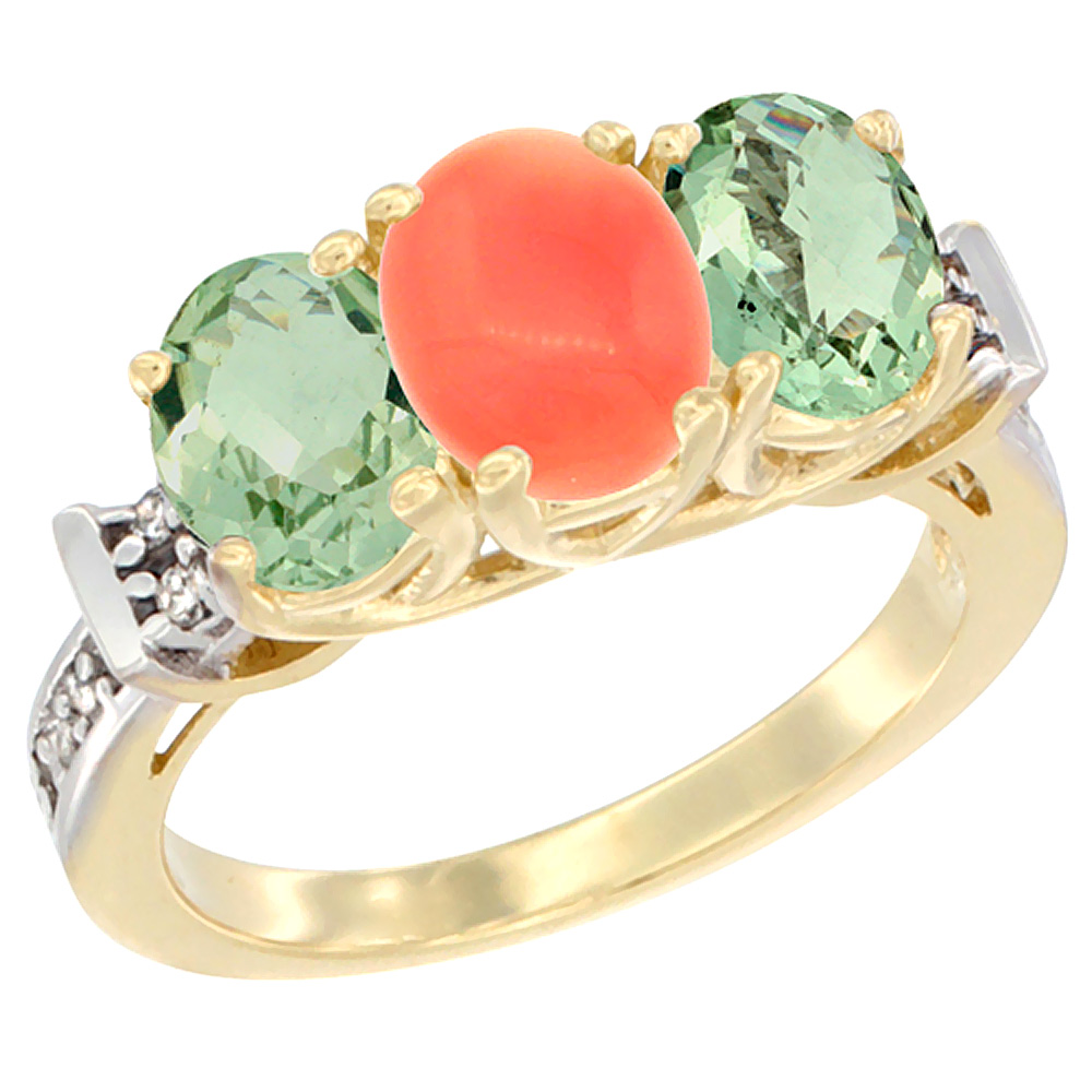14K Yellow Gold Natural Coral & Green Amethyst Sides Ring 3-Stone Oval Diamond Accent, sizes 5 - 10