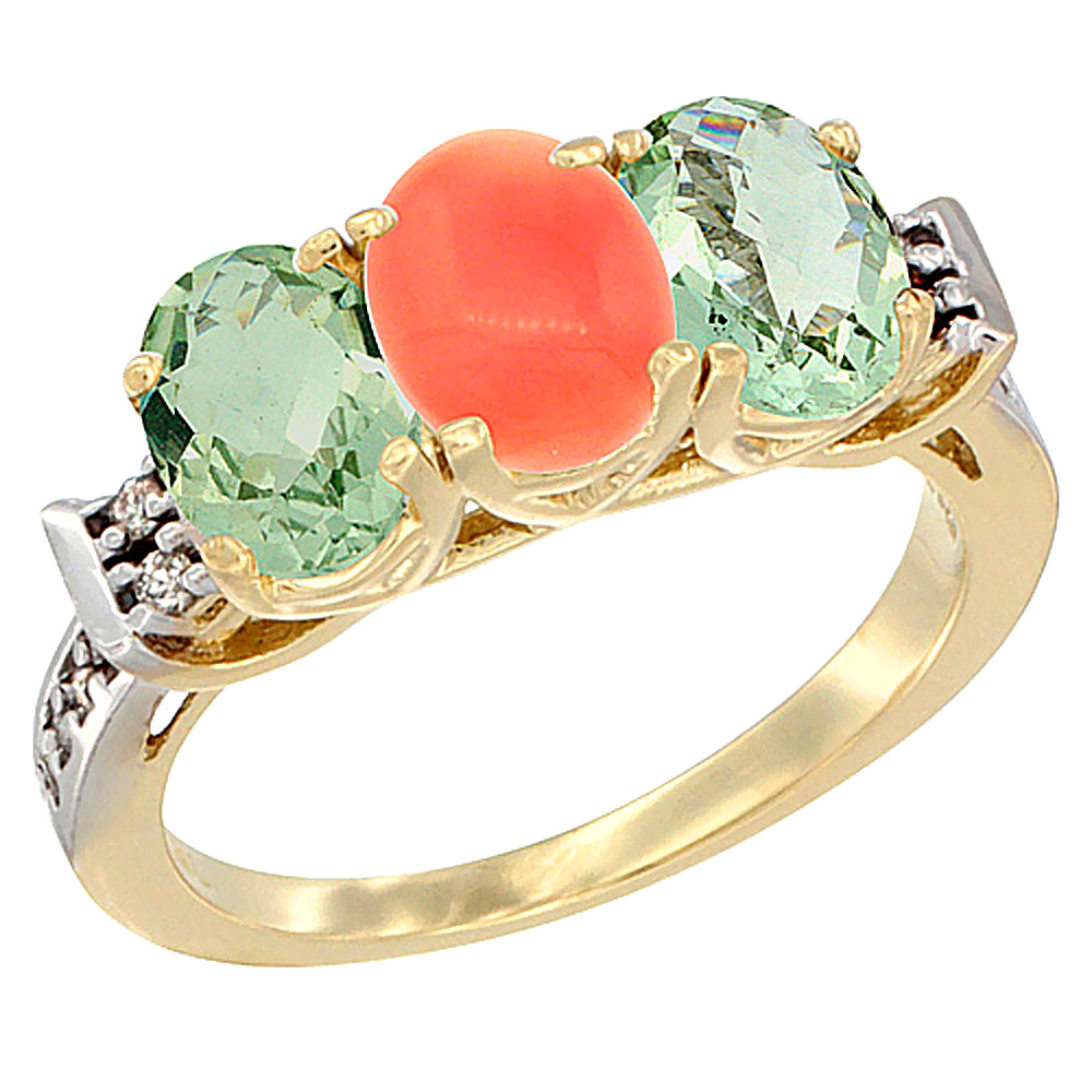 10K Yellow Gold Natural Coral & Green Amethyst Sides Ring 3-Stone Oval 7x5 mm Diamond Accent, sizes 5 - 10