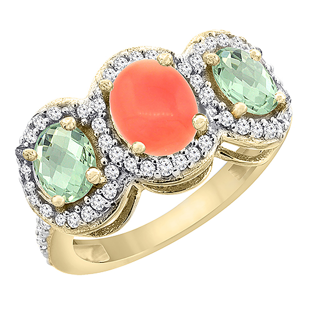 14K Yellow Gold Natural Coral & Green Amethyst 3-Stone Ring Oval Diamond Accent, sizes 5 - 10