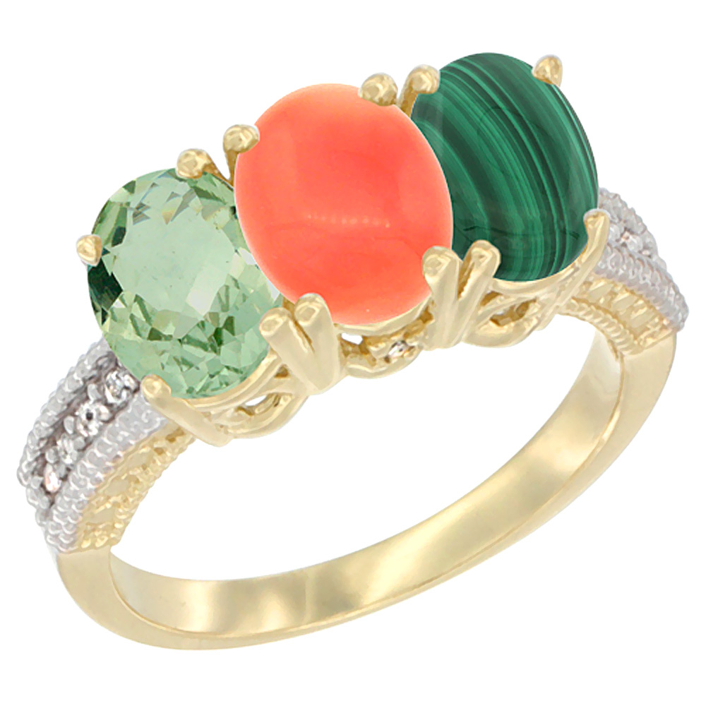 14K Yellow Gold Natural Green Amethyst, Coral & Malachite Ring 3-Stone 7x5 mm Oval Diamond Accent, sizes 5 - 10