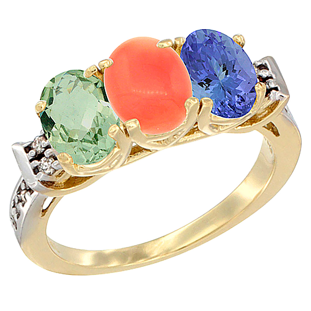 10K Yellow Gold Natural Green Amethyst, Coral & Tanzanite Ring 3-Stone Oval 7x5 mm Diamond Accent, sizes 5 - 10