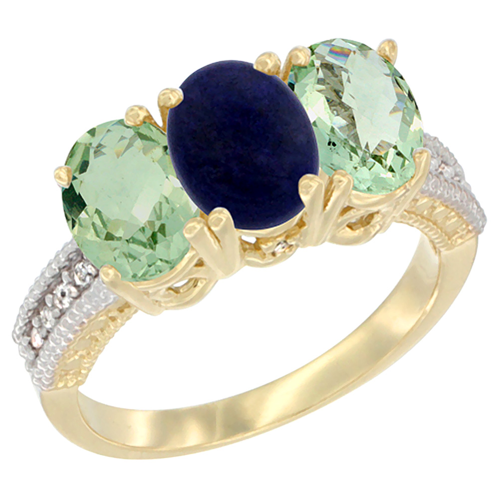 14K Yellow Gold Natural Lapis & Green Amethyst Sides Ring 3-Stone 7x5 mm Oval Diamond Accent, sizes 5 - 10
