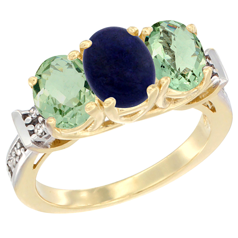 14K Yellow Gold Natural Lapis & Green Amethyst Sides Ring 3-Stone Oval Diamond Accent, sizes 5 - 10