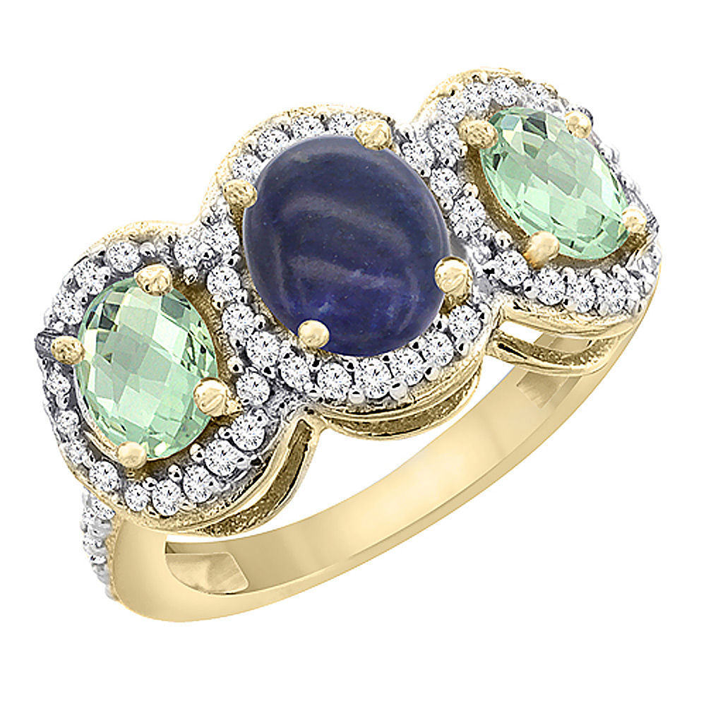 10K Yellow Gold Natural Lapis & Green Amethyst 3-Stone Ring Oval Diamond Accent, sizes 5 - 10