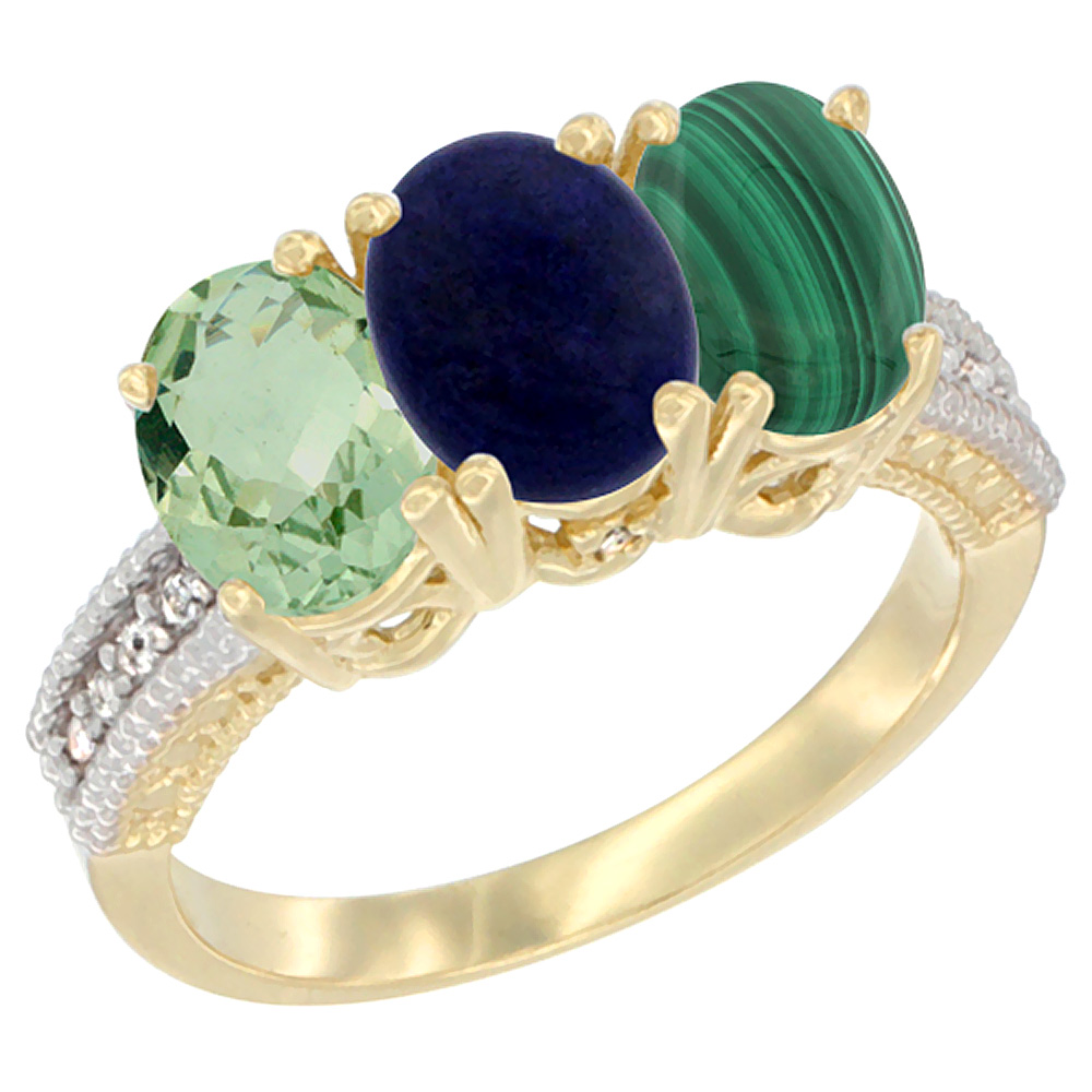 10K Yellow Gold Diamond Natural Green Amethyst, Lapis & Malachite Ring 3-Stone Oval 7x5 mm, sizes 5 - 10