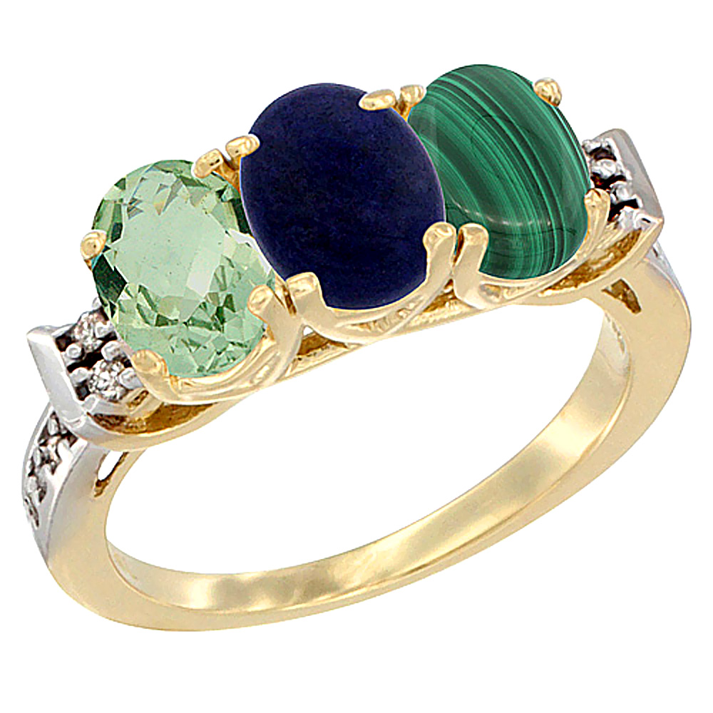 10K Yellow Gold Natural Green Amethyst, Lapis & Malachite Ring 3-Stone Oval 7x5 mm Diamond Accent, sizes 5 - 10