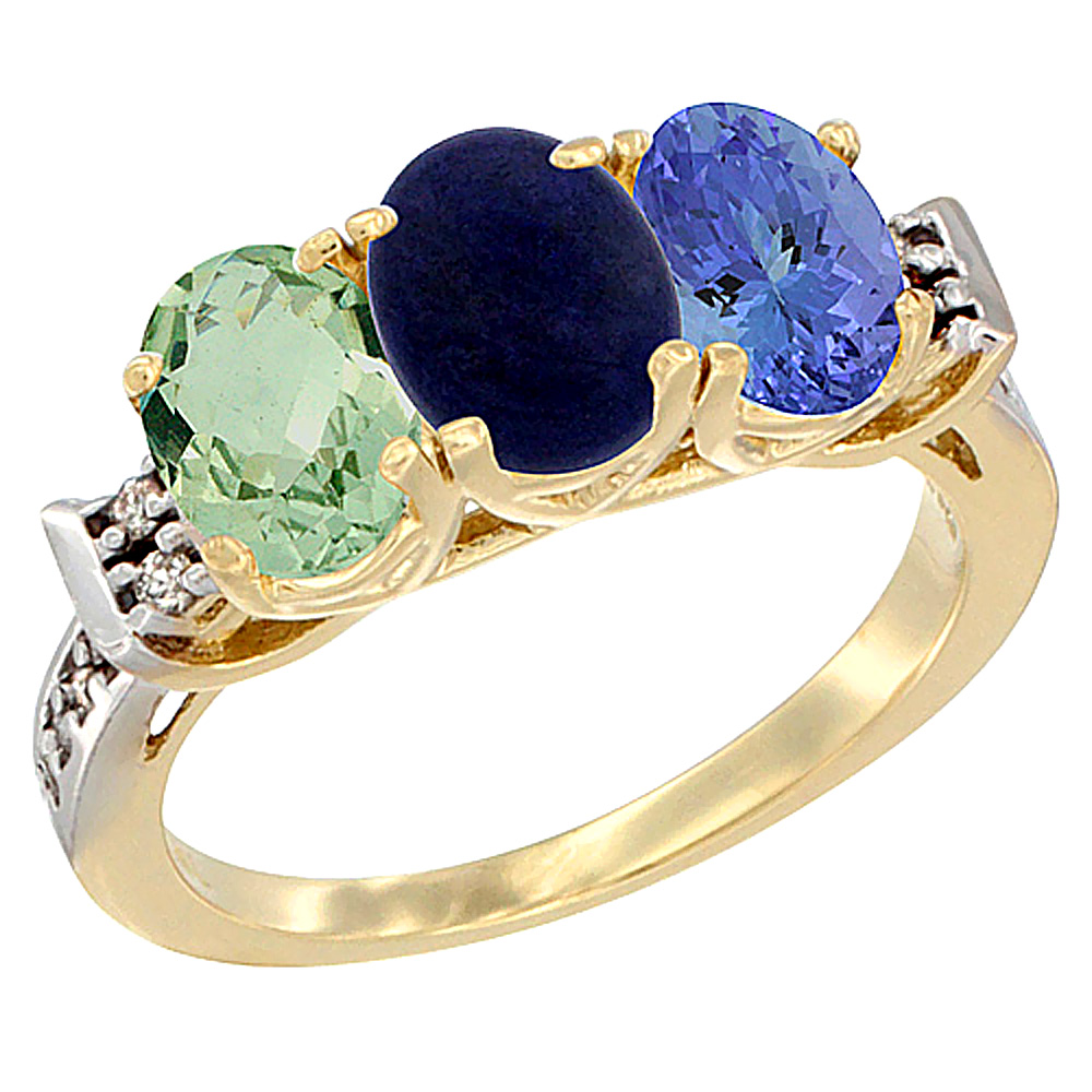 10K Yellow Gold Natural Green Amethyst, Lapis & Tanzanite Ring 3-Stone Oval 7x5 mm Diamond Accent, sizes 5 - 10