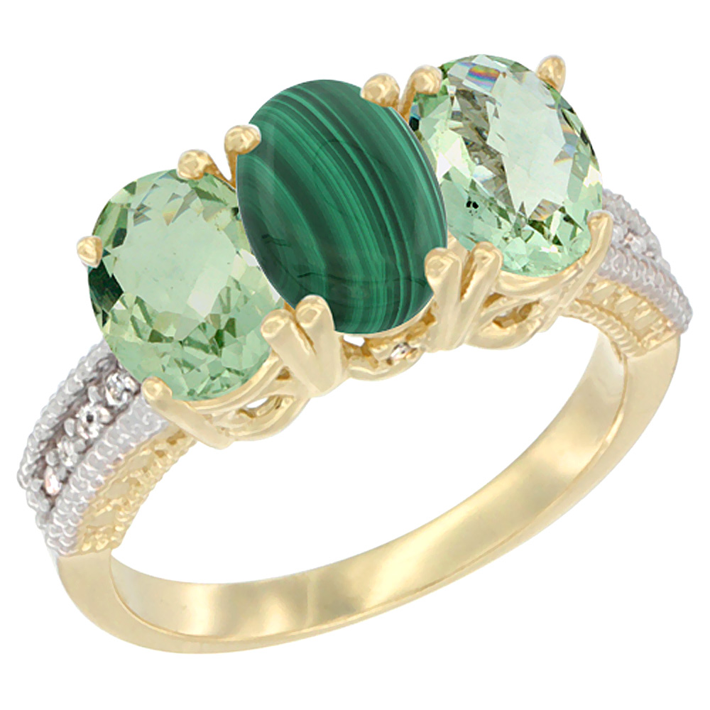 10K Yellow Gold Diamond Natural Malachite & Green Amethyst Sides Ring 3-Stone Oval 7x5 mm, sizes 5 - 10