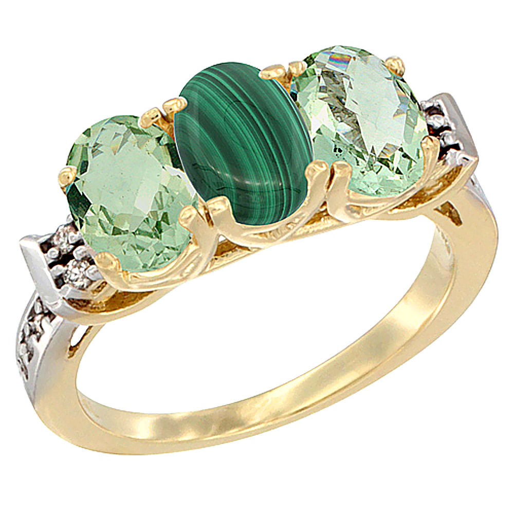 14K Yellow Gold Natural Malachite & Green Amethyst Sides Ring 3-Stone 7x5 mm Oval Diamond Accent, sizes 5 - 10