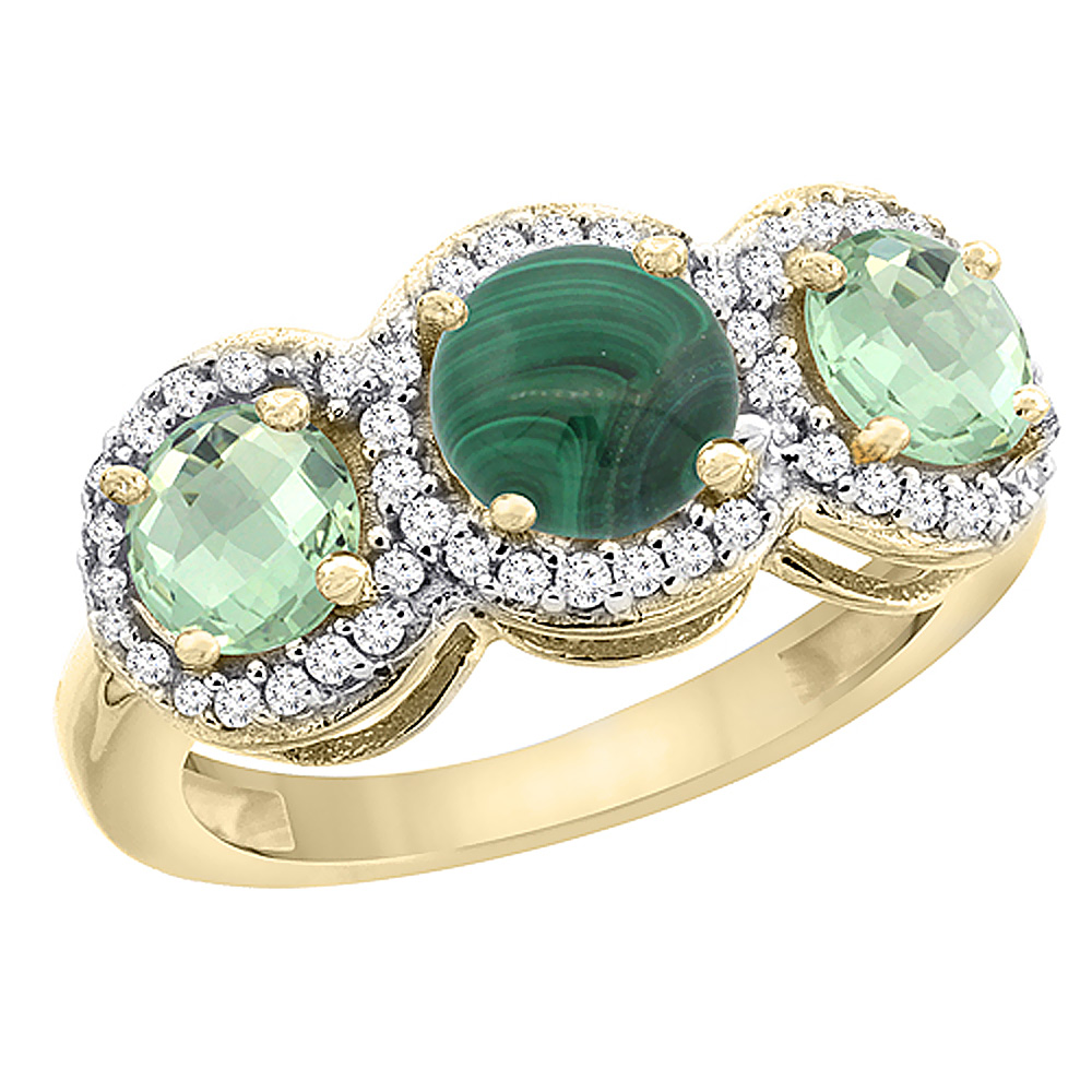 14K Yellow Gold Natural Malachite & Green Amethyst Sides Round 3-stone Ring Diamond Accents, sizes 5 - 10