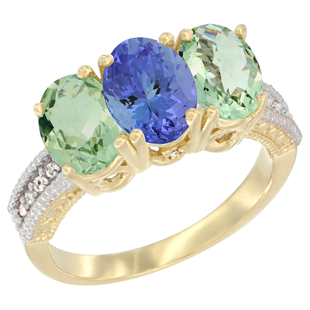 10K Yellow Gold Diamond Natural Tanzanite & Green Amethyst Sides Ring 3-Stone Oval 7x5 mm, sizes 5 - 10