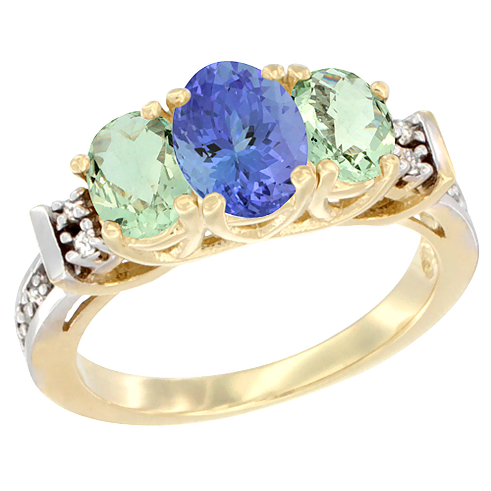 10K Yellow Gold Natural Tanzanite & Green Amethyst Ring 3-Stone Oval Diamond Accent