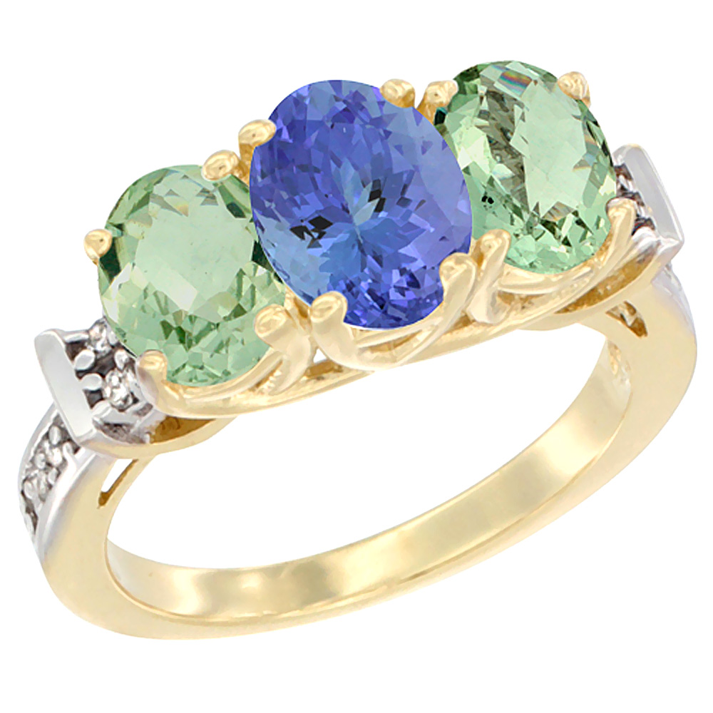 14K Yellow Gold Natural Tanzanite & Green Amethyst Sides Ring 3-Stone Oval Diamond Accent, sizes 5 - 10