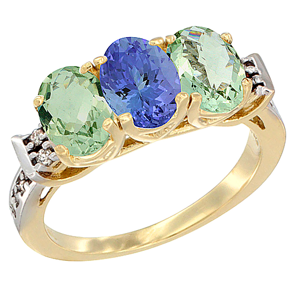 10K Yellow Gold Natural Tanzanite & Green Amethyst Sides Ring 3-Stone Oval 7x5 mm Diamond Accent, sizes 5 - 10