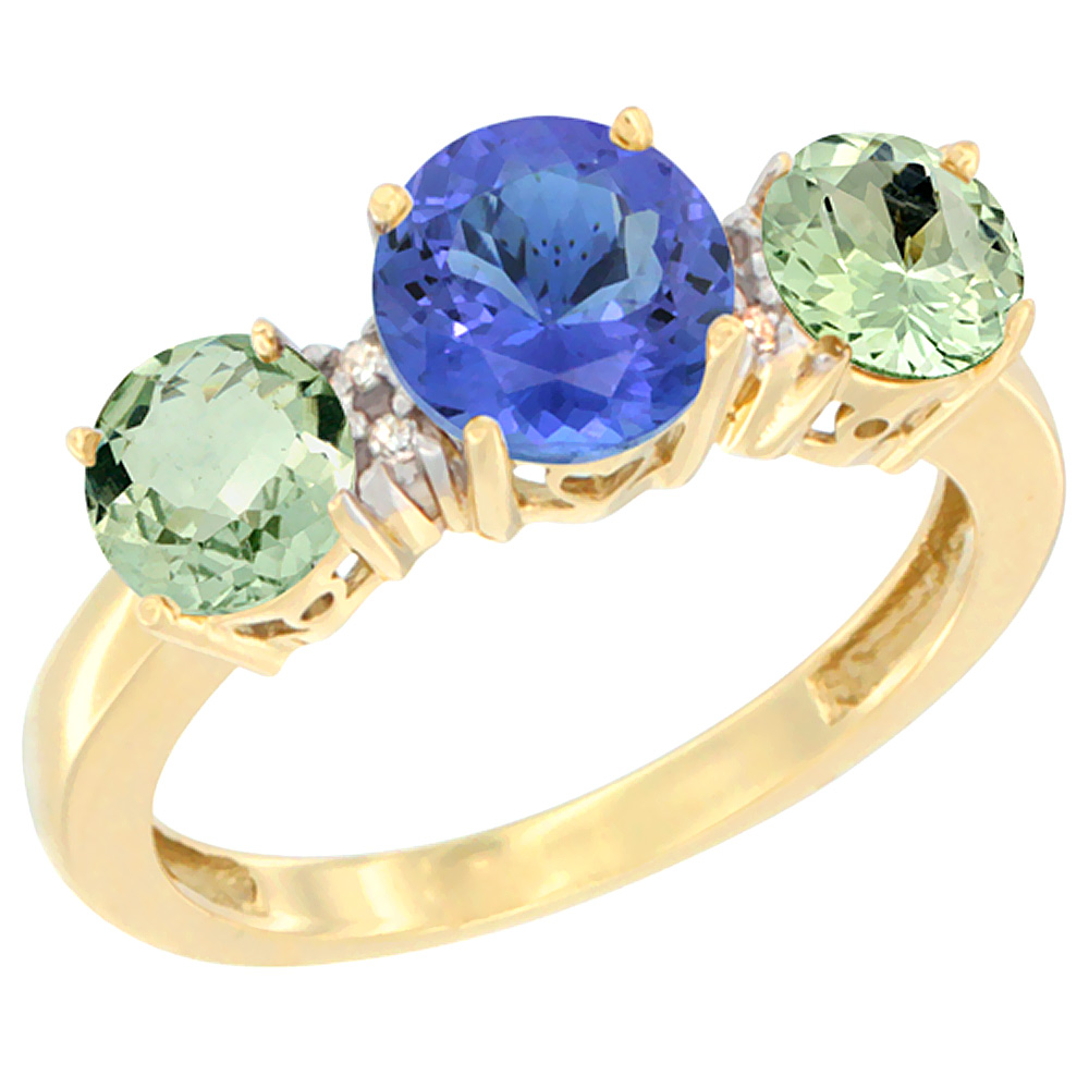 10K Yellow Gold Round 3-Stone Natural Tanzanite Ring & Green Amethyst Sides Diamond Accent, sizes 5 - 10