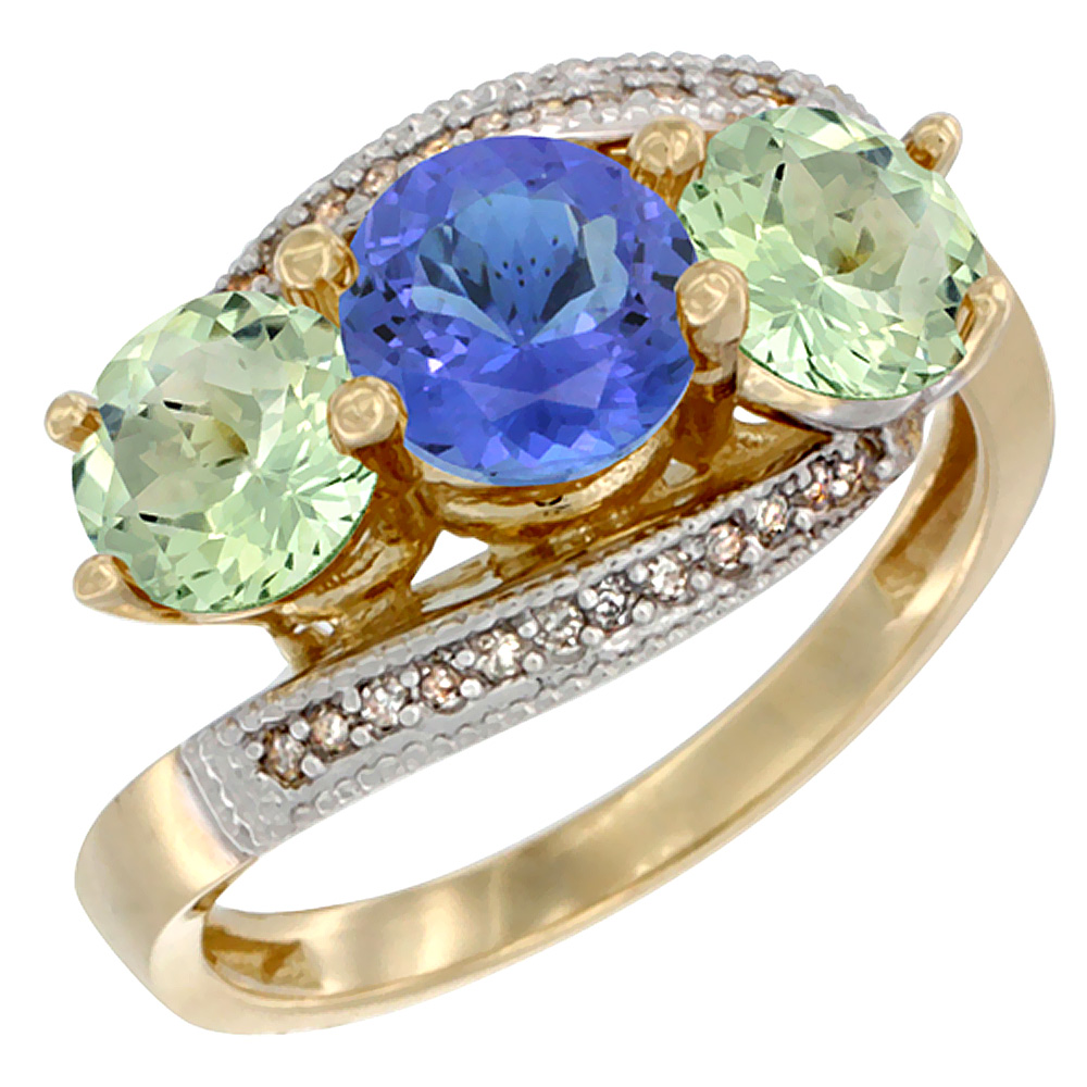 10K Yellow Gold Natural Tanzanite & Green Amethyst Sides 3 stone Ring Round 6mm Diamond Accent, sizes 5 - 10